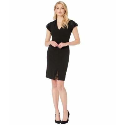 ベッツィジョンソン ワンピース トップス レディース Scuba Crepe Dress with Lace Detail Black