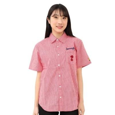 スヌーピー チェックシャツ 半袖 刺繍 全3色