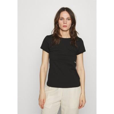 カルバンクライン Tシャツ レディース トップス MICRO BRANDING OFF PLACED TEE - Basic T-shirt - black