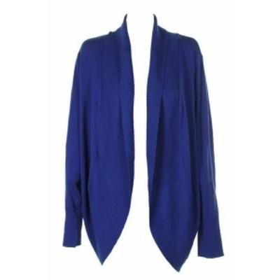 ファッション トップス Encre International Concepts Vif Bleu Col Chale Ourlet Arrondi Cardigan XXL