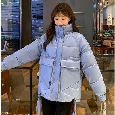 アウター レディース 冬 カジュアル 中綿ダウン エコダウン ブルゾン コート 大人可愛い サイドリボン 光沢感 ゆったり オーバーサイズ 防寒 暖か シンプル