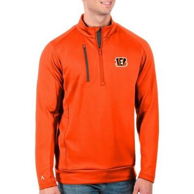 アンティグア Antigua メンズ トップス Cincinnati Bengals Orange Generation Half-Zip Pullover