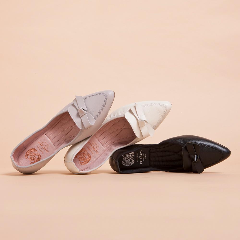 【新品】我的旅行日記-口袋版 清新蝴蝶結飾平底鞋  黑 (502360)