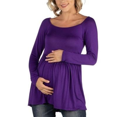 24セブンコンフォート カットソー トップス レディース Long Sleeve Square Neck Empire Waist Maternity Tunic Top Purple