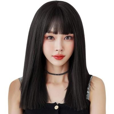 ウィッグ ストレート セミロング ULSTAR フルウィッグ 自然 レディース wig ぱっつん前髪 小顔効果 耐熱 (茶色)