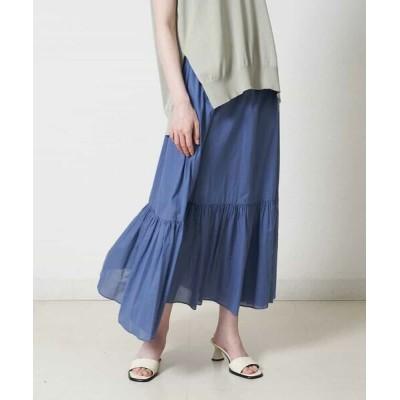 MICHEL KLEIN/ミッシェルクラン 【洗える】コットンローンティアードスカート ブルー M