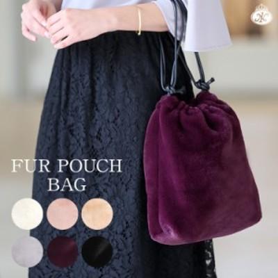 ファーバッグ 巾着ファーバッグ フェイクファー レディース バッグ 鞄 巾着 秋 冬 ホワイト ブラック ピンク グレー パープル ベージュ