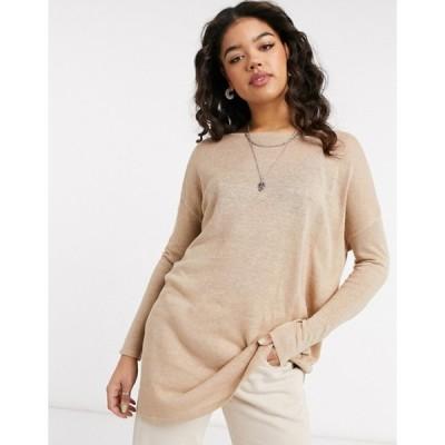 ヴィラ レディース シャツ トップス Vila knitted tunic top in beige
