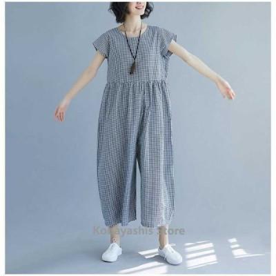 サロペットレディースギンガムチェックマキシ丈きれいめゆったり半袖夏大きいサイズ体型カバー着やせ