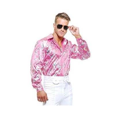Charades Mens Adult's 70s Metallic Shiny Pink Hologram Disco Shirt XL 46-48
