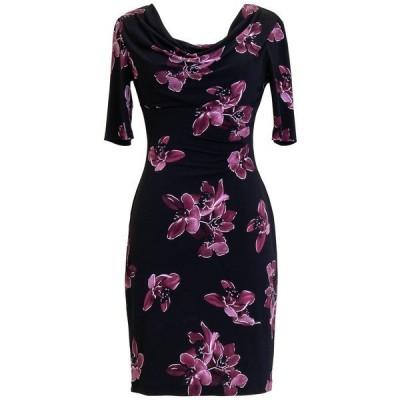 コネクテッド ワンピース トップス レディース Petite Floral 3/4-Sleeve Sheath Dress Merlot
