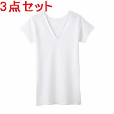 【3点セット】グンゼ 快適工房 V型3分袖スリーマー KH5050 ホワイト Sサイズ まとめ買い お得用 セット割引
