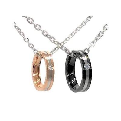 アンディアーノ ジルコニア 指輪 としても使える2way リング ペアネックレス ブラック ピンクゴールド メンズ レディース