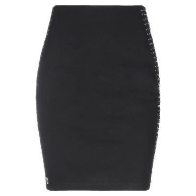 PHILIPP PLEIN ひざ丈スカート ブラック S コットン 96% / ポリウレタン 4% ひざ丈スカート