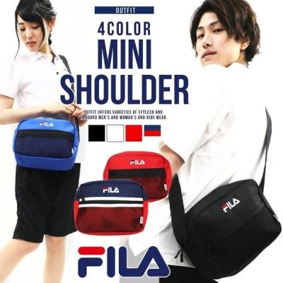 FILA フィラ ショルダーバッグ メンズ レディース A5 バッグ 肩がけ 刺繍 ロゴ 4色展開 ブラック レッド ブルー トリコロール fm2095