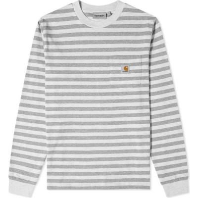 カーハート Carhartt WIP メンズ 長袖Tシャツ ポケット トップス long sleeve scotty stripe pocket tee White Heather/Grey Heather