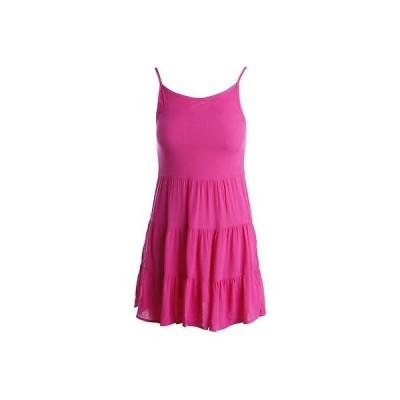 ドレス ワンピース Aqua アクア 2864 レディース ピンク Tieレッド Scoop Neck ノースリーブ カジュアル ドレス Juniors L BHFO