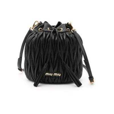 MIU MIU/ミュウ ミュウ Black Miu miu quilted shoulder bucket bag レディース 春夏2021 5BE014 V OOO N88 ik