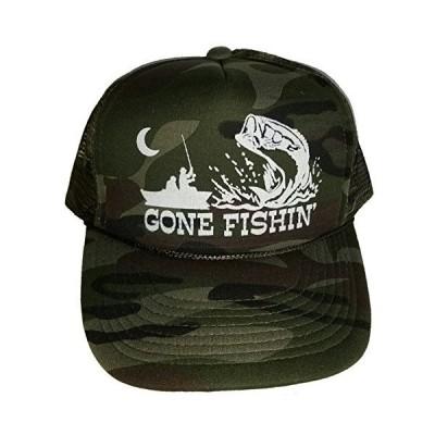 THATSRAD Gone Fishin' Green Camo Camouflage Mesh Trucker Hat Cap Snapback F
