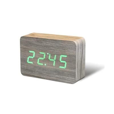 "Gingko Brick Click Clock 8"" x 6"" Time/Date/Temp Alarm Clock Ash"