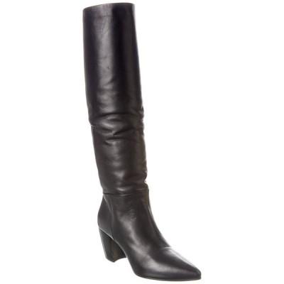 プラダ ブーツ&レインブーツ シューズ レディース Prada Leather Pointy-Toe Knee High Boot black leather