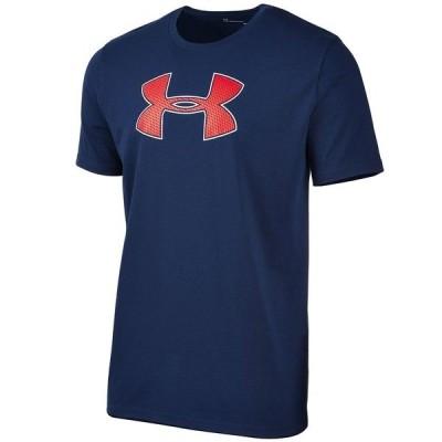 アンダーアーマー Tシャツ トップス メンズ Men's Big-Logo T-Shirt Navy Blue