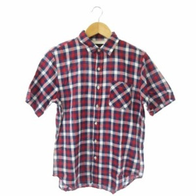 【中古】レイジブルー RAGEBLUE シャツ 半袖 チェック リネン混 麻混 M 赤 レッド /MN2 ★ メンズ