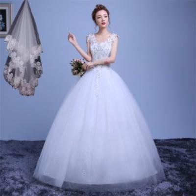 ウエディングドレス ロングドレス エレガント Vネック イブニングドレス Aライン ベール付き 披露宴 二次会 結婚式 イベント