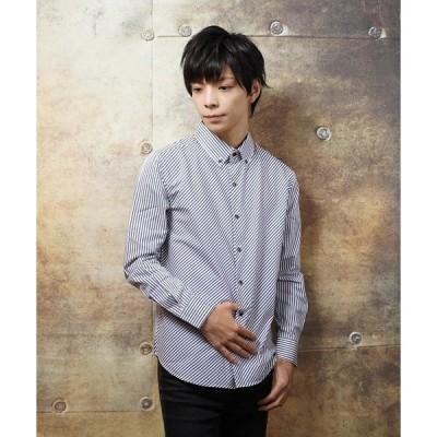 シャツ ブラウス 日本製バイアスストライプデザインボタンダウンシャツ(GW)