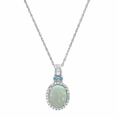 Dazzlingrock Collection 7X5 mm Oval Created Opal & Round Created White Sapphire, Natural Blue Topaz Ladies Drop Pendant, Sterlin