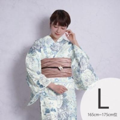 浴衣 セット 3点セット(浴衣/帯/下駄)日本製生地 国内染色 和歌山染工 水色 ブルー グレー 白 青 小菊 Nico Antique 浴衣