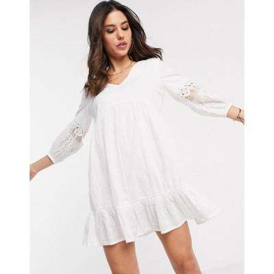 アクセサライズ レディース ワンピース トップス Accessorize mini beach dress with sleeve detailing in white