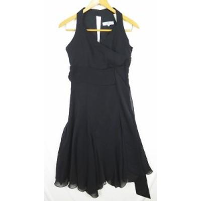 【中古】ビアッジョブルー Viaggio Blu ドレス ワンピース ノースリーブ ウエストリボン 0 ブラック 2sa0854 レディース