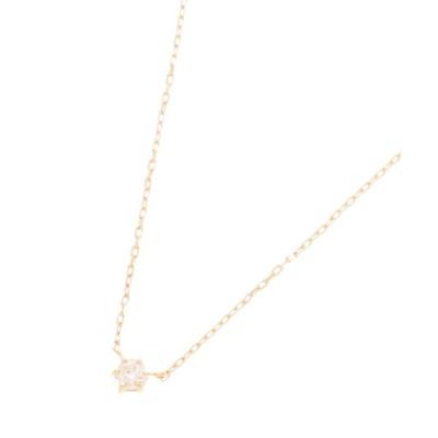 【ココシュニック】 ダイヤモンド 6本爪 ネックレス レディース イエロー ゴールド 40 COCOSHNIK