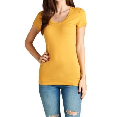 ユニセックス 衣類 トップス Wonen's Basic Short Sleeve Scoop Neck Tee Shirts Top Tシャツ