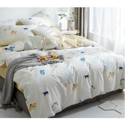 北欧調柄 掛け布団カバー 4点セット 敷き布団カバー 綿100% 植物柄|掛け布団カバー 1点|シーツ 1点|枕カバー 2点|a114