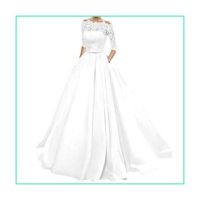 Yuxin Women's Lace Wedding Dress 3/4 Sleeves Sweep Train Satin Bridal Gown(8,White)並行輸入品
