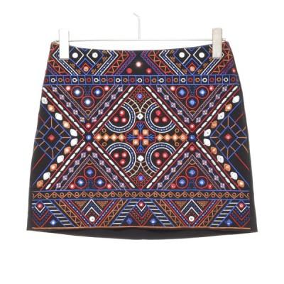 H&M エイチアンドエム スカート ミニ 刺繍 サイズ36 レディース ブラック