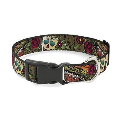Buckle-Down Cat Collar Breakaway Death Before Dishonor Olive 8 to 12 Inches 0.5 Inch Wide【並行輸入品】