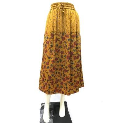 【中古】BEAUTY & YOUTH  ビューティアンドユース スカート レディース ブラウン ロングスカート 花柄 総柄 ウエストゴム