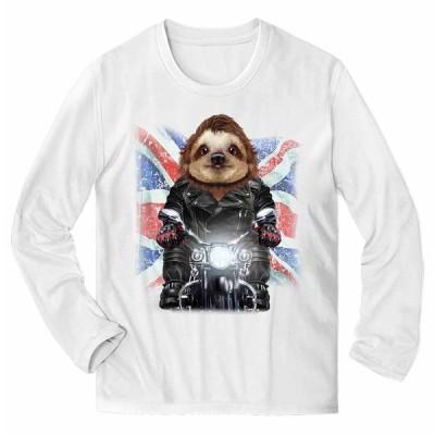 【ナマケモノの赤ちゃん本舗 バイク イギリス】メンズ 長袖 Tシャツ by Fox Republic