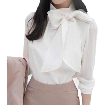 グッドスプン リボン ブラウス シャツ ファッション 長袖 フォーマル 衿 トップス リボンタイ 襟 白(ホワイト, M)