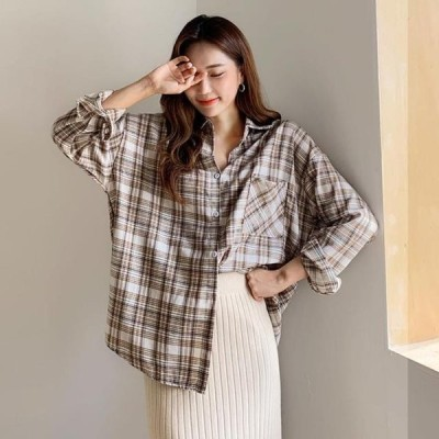 ENVYLOOK レディース ブラウス Calm Fleece-lined check shirt