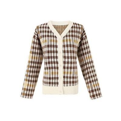 Women's V Neck Open Front Casual Style Pocket Knitwear Coat (Brown Leopard