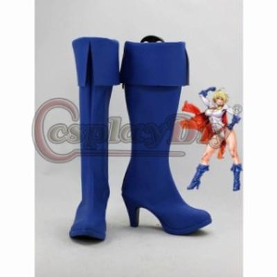 高品質 高級 オーダーメイド ブーツ 靴 シューズ パワーガール 風 DC Comics Cosplay Boots Power Girl Superhero