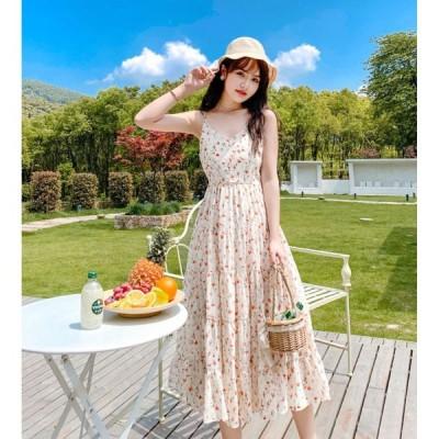 春夏 ドレス ロングドレス サマードレス ワンピース ビーチワンピース ミモレ丈 花柄 ノースリーブ カジュアル ガーリー
