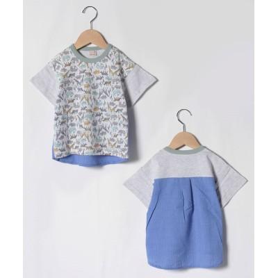 (petit main/プティマイン)動物総柄切り替えTシャツ/ アイボリー