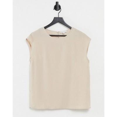 ウエアハウス レディース Tシャツ トップス Warehouse satin tipped T-shirt in mink Mink
