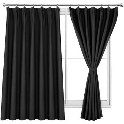 WONTEX 2枚セット カーテン遮光1級 ドレープカーテン おしゃれ 断熱 形状記憶加工 リビングルーム UVカット ブラック 幅100cm×丈1