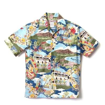 HULA KEIKI Aloha picture メニュー柄アロハシャツ フラケイキ メンズ レディース ハワイアン 半袖アロハシャツ コットン100%